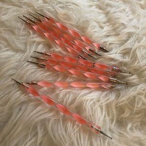 9-piece pink nail art tool set